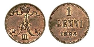 1 пенни 1884 года Александр 3