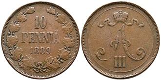 10 пенни 1889 года Александр 3