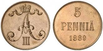 5 пенни 1889 года Александр 3