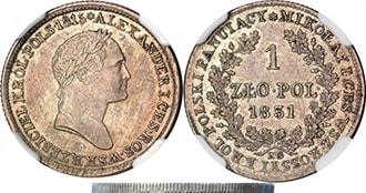 1 злотый 1831 года Николай 1