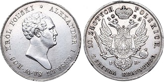 10 злотых 1825 года Николай 1