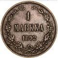1 марка 1892 года Серебро, фото 2