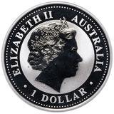 1 доллар 2005, серебро (Ag 925) | Год Петуха (золочение) — Австралия, фото 1