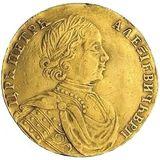 Двойной червонец 1714, золото (Au 980) — Петр I, фото 1