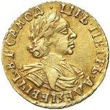 2 рубля 1718, золото (Au 781) — Петр I, фото 1