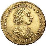 2 рубля 1724, золото (Au 781) — Петр I, фото 1