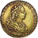 2 рубля 1729, золото (Au 781) — Петр II, фото 1