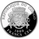 1000 франков 2017, серебро (Ag 925) | Год Петуха 3D — Конго, фото 1