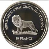 10 франков 2005, серебро (Ag 925) | Жёлтая рыбка — Конго, фото 1