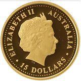 15 долларов 2006, золото (Au 999) | Гребнистый крокодил — Австралия, фото 1