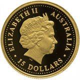 15 долларов 2007, золото (Au 999) | Короткошерстный вомбат — Австралия, фото 1
