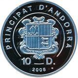 10 динеров 2008, серебро (Ag 925) | Экстрим: кайтсёрфинг — Андорра, фото 1
