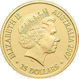 25 долларов 2008, золото (Au 999) | Кенгуру в лучах заката — Австралия, фото 1