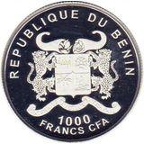 1000 франков 2012, серебро (Ag 925) | Китайская хохлатая — Бенин, фото 1