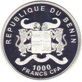 1000 франков 2012, серебро (Ag 925) | Померанский шпиц — Бенин, фото 1