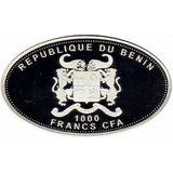 1000 франков 2013, серебро (Ag 925) | Змеиный глаз — Бенин, фото 1