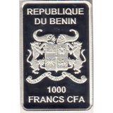 1000 франков 2014, серебро (Ag 925) | Английский рыцарь — Бенин, фото 1