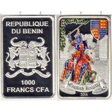 "2000 франков 2014, серебро (Ag 925) | Набор монет ""Рыцари"" — Бенин, фото 1"