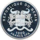 1000 франков 2014, серебро (Ag 925) | Москва — Бенин, фото 1