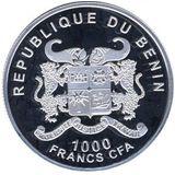 1000 франков 2014, серебро (Ag 925) | Год лошади — Бенин, фото 1