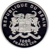1000 франков 2015, серебро (Ag 925) | Владимир Высоцкий — Бенин, фото 1