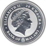 20 квача 2009, серебро (Ag 999) | Бык на удачу — Малави, фото 1
