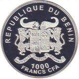 1000 франков 2014, серебро (Ag 925) | Год лошади (Пегас) — Бенин, фото 1