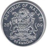 50 квача 2009, серебро (Ag 999) | Снеговик — Малави, фото 1