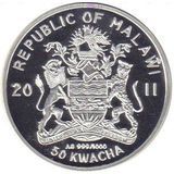 50 квача 2011, серебро (Ag 999) | Новогодняя ёлка — Малави, фото 1