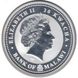 20 квача 2009, серебро (Ag 999) | Бык на изобилие — Малави, фото 1