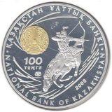 100 тенге 2008, серебро (Ag 925) | Чингисхан — Казахстан, фото 1