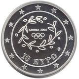 10 евро 2004, серебро (Ag 925) | Метание диска — Греция, фото 1