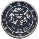 10 евро 2004, серебро (Ag 925) | Метание копья — Греция, фото 1
