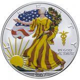 1 доллар 2007, серебро (Ag 999) | Американский орел (шагающая Свобода), лето — США, фото 1