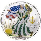 1 доллар 2007, серебро (Ag 999) | Американский орел (шагающая Свобода), весна — США, фото 1