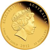 25 долларов 2012, золото (Au 999) | Год Дракона (цветная) — Австралия, фото 1