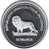 10 франков 2004, серебро (Ag 925) | Императорская рыбка — Конго, фото 1