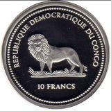 10 франков 2004, серебро (Ag 925) | Осьминог — Конго, фото 1