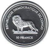 10 франков 2005, серебро (Ag 925) | Зелёная рыбка — Конго, фото 1