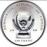 240 франков 2008, серебро (Ag 925) | Слон — Конго, фото 1