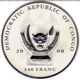 240 франков 2008, серебро (Ag 925) | Носорог — Конго, фото 1