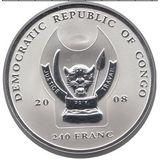 240 франков 2008, серебро (Ag 925) | Буйвол — Конго, фото 1