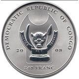240 франков 2008, серебро (Ag 925) | Леопард — Конго, фото 1