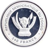 240 франков 2012, серебро (Ag 925) | Дракон на счастье — Конго, фото 1