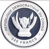 240 франков 2013, серебро (Ag 925) | Змея на счастье — Конго, фото 1