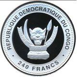 240 франков 2013, серебро (Ag 925) | Змея на изобилие — Конго, фото 1