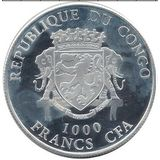 1000 франков 2015, серебро (Ag 925) | Козы — Конго, фото 1