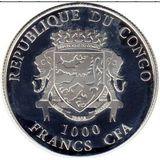 1000 франков 2015, серебро (Ag 925) | Коза с клевером — Конго, фото 1