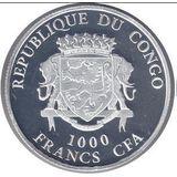 1000 франков 2016, серебро (Ag 925) | Зима — Конго, фото 1