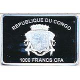 1000 франков 2017, серебро (Ag 925) | Петушок с подарками — Конго, фото 1